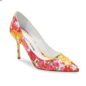 NWT Manolo Blahnik BB Pointed Toe Pump / Floral